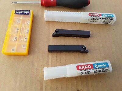 ARNO KOFLER 10 mm Indexable Tungsten Carbide Tipped Lathe Cutting Tools + Tips