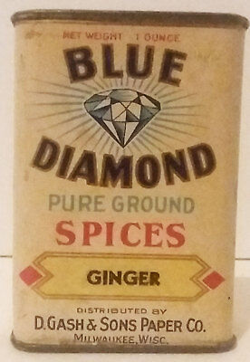 Scarce Vintage Blue Diamond Spice Tin Milwaukee Wisconsin