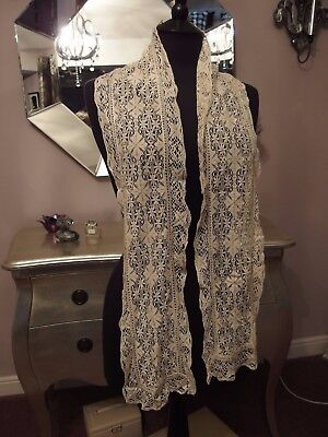 antique handmade Maltese silk lace lappet stole collar