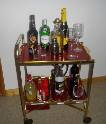 Vintage Stylish 1970`s Hostess Tea Drinks Trolley-Red & Gold-Christmas In Style!