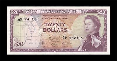 "1965 EAST CARIBBEAN STATES QEII $20 First Series ""A"" (( EF+ ))"