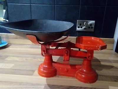 vintage kitchen scales in red with black bowl
