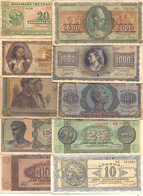Greece  - 10 Different Greek Banknotes (Lot-21)