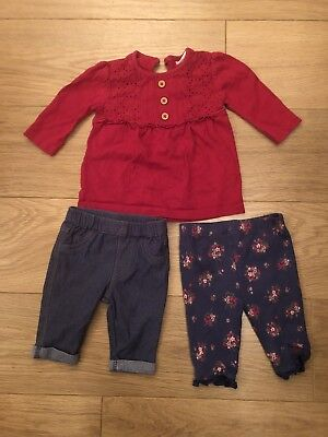 Baby Girls F&F Upto 1 Months Long Sleeved Top And Trousers Outfit