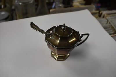 antique mustard pot silver with sterling spoon and blue cobalt glass insert