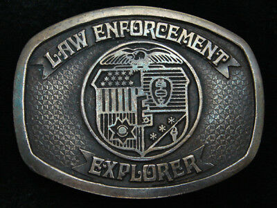 QF07107 VINTAGE 1970s **LAW ENFORCEMENT EXPLORER** BOY SCOUTS BELT BUCKLE
