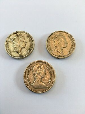 Great Britain One Pound Coins 1983 And Two 1993 Coins
