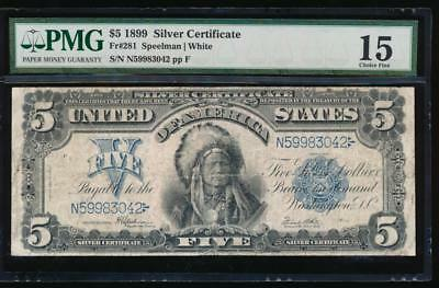 AC Fr 281 1899 $5 Silver Certificate PMG 15 CHIEF NOTE