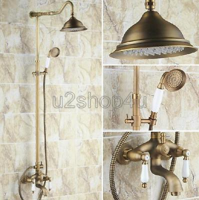 Antique Brass Bathroom Rain Shower Faucet Set Tub Mixer Tap Hand