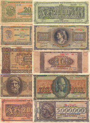 Greece  - 10 Different Greek Banknotes (Lot-25)