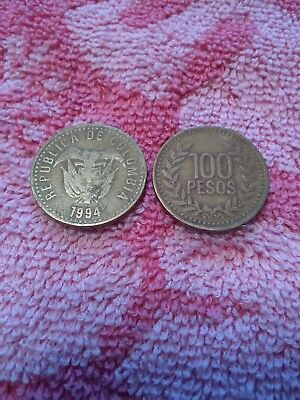 TWO COLOMBIAN  100 Peso coins lot of 2 two Nice Coins