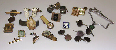 MIXED LOT of ANTIQUE & VINT. MEN'S JEWELRY-MASONIC/LINKS/TACS/STERLING/4-H-MORE