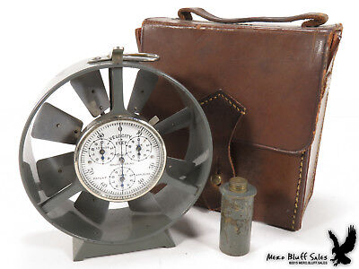 RARE Antique Tycos Anemometer Wind Velocity Meter Rochester NY Hard Leather Case
