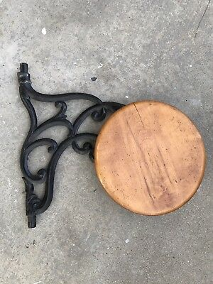 Antique Cast Iron Swing Out / Swing Arm Seat Industrial Workbench Stool 1880's