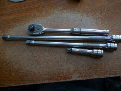 Snap-on 3/8 inch ratchet and 3 extensions