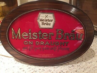 MEISTER BRAU BEER ON DRAUGHT GLASS Non illuminated sign brand new