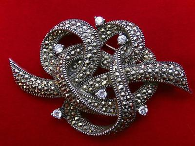 Rare JUDITH JACK Victorian Inspired Marcasite and Sunray Crystal Sterling Brooch