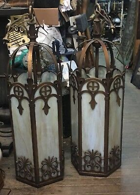 Rare Pair Of Antique Gothic Architectural Hanging Lights From Old Buffalotheater