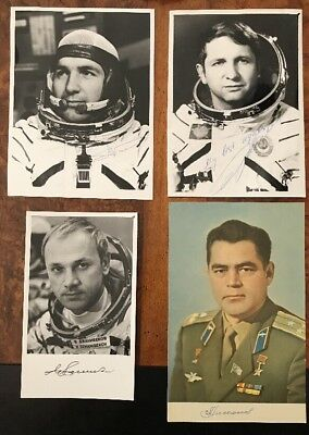 4 Russian Cosmonaut Authentic Signed Photographs