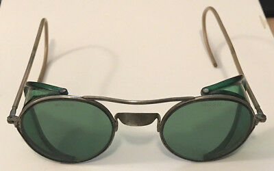 Vintage safety glasses Green lenses side shields Steampunk cosplay riding punk