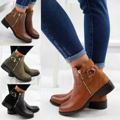 New Womens Ladies Flat Ankle Boots Casual Buckle Side Zip Low Heel Shoes Sizes