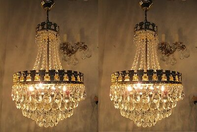 Pair of VNT French Real Swarovski Crystal Chandelier 1960's 14 in Ø diameter
