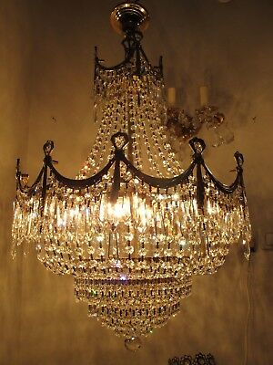 Antique Vnt French HUGE Basket Real Swarovski Crystal Chandelier 1940's 22in dmt