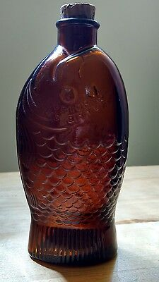Vtg Wheaton Doctor Fischs Bitters Amethyst Fish Bottle Cork Millville New Jersey