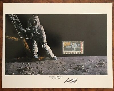Paul Calle Signed Apollo 11 Commemorative Item 1st Man On The Moon