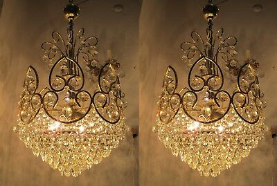 Pair of Antique French LARGE Real Swarovski Crystal Chandelier 1950's 17 in Ø dm