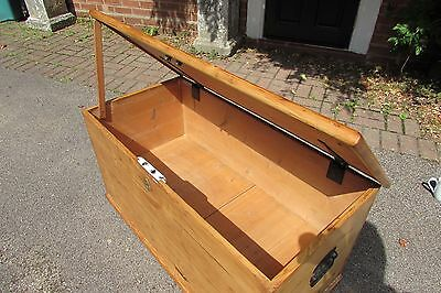 Antique stripped waxed pine mule chest. trunk blanket box with drawer