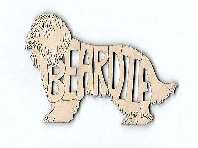 "Bearded Collie ""Beardie"" Dog laser cut and engraved wood Magnet"