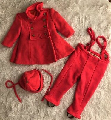 Vintage Saks Fifth Avenue 60 70s  Pea Coat Stirrup Pants Cap toddler Lined Wool
