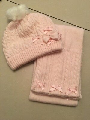 Sarah Louise Baby Girls Pink Hat & Scarf