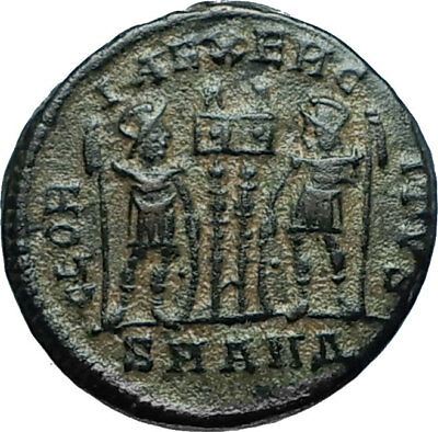 CONSTANTINE I the GREAT 330AD Authentic Ancient Roman Coin w SOLDIERS i66022