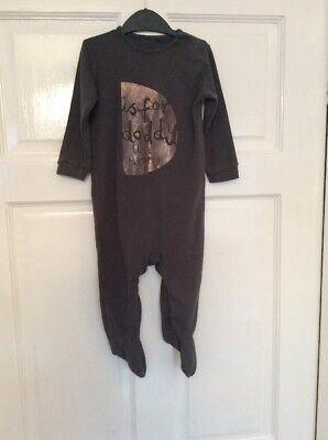 "Baby Boy's NEXT Charcoal Grey ""D is for Daddy"" Babygrow Age 9 - 12 months"