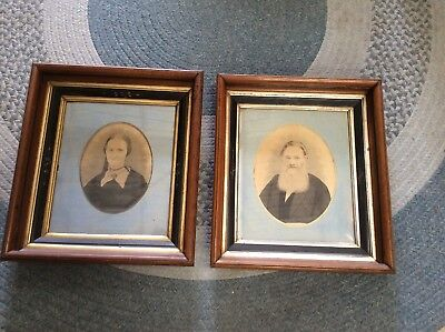 Antique Victorian pair Wood Frames Portraits Folk Art painted sketch mourning