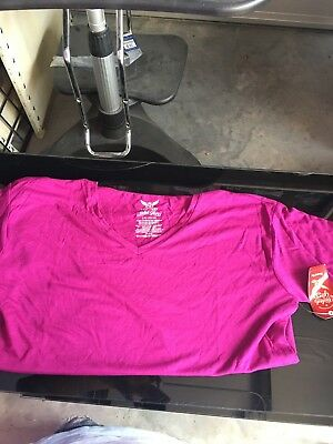 Faded Glory Girls Size L 10-12 Long Sleeve Magenta V-Neck T-Shirt Top