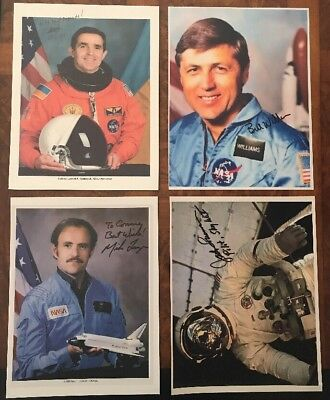"Group Lot Of 4 Signed 11""x8-1/2"" Space Explorers On Poor Quality Paper"