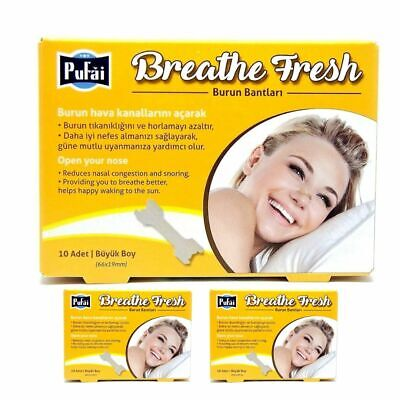 Breathe Fresh Nasal Strips, 30 piece in 3 box,  Large Size (66*19 mm)  by Pufai