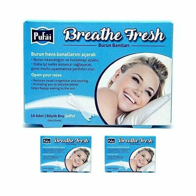 Breathe Fresh Nasal Strips ,30 piece in 3 box ,TRANSPARENT Large Size 66x19mm