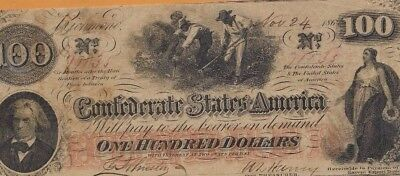 """$100 """"slaves Hoeing"""" (Confederate Note) $100(Rare)""""csa """"slaves Hoeing"""" Nice!"""