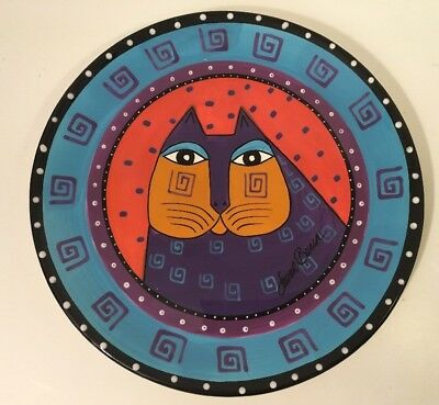 "GANZ LAUREL BURCH Cat Plate Blue/Orange/Purple/Red 10"" Bella Casa Geometric"