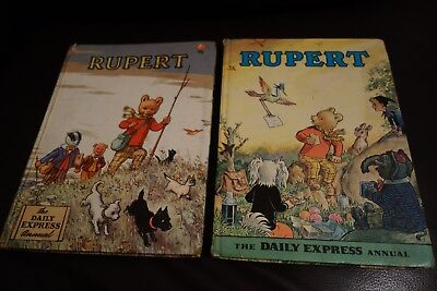 Vintage Daily Express Rupert Bear Annual Annuals 1955  and 1972 both unclipped
