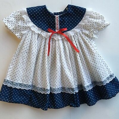 ADORABLE Blue & White Swiss Dots Toddler Girl Dress Vintage Size Range 12m-2T