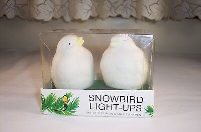Department 56 Snowbird Light-Ups Set Of 2 Clip On Bisque Ornaments