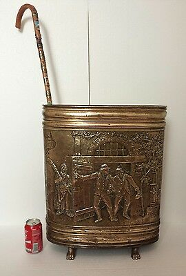 Antique French Brass Umbrella Stand Cane Stick Stand Hall Embossed
