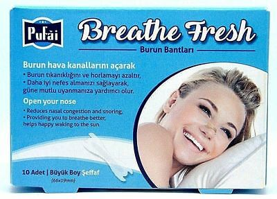 Breathe Fresh Nasal Strips, 10 piece in a box ,TRANSPARENT Large Size 66x19mm