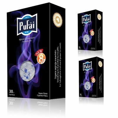 Pufai Cigarette Filters Regular Tar Blocker 8mm 90 Piece in 3 Boxes Dark