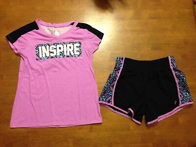 Justice Girls Size 12 Athletic Shorts and Matching Top Black and Purple USED